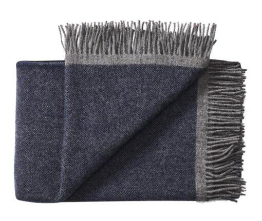 plaid deken donkerblauw okergeel wol silkeborg