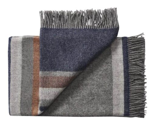 plaid donkerblauw grijs strepen wol silkeborg