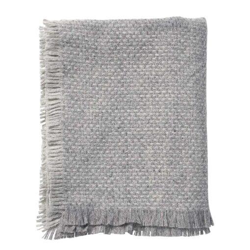 plaid grijs franjes lamswol klippan brick