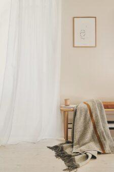 plaid grijs okergeel deken wol silkeborg