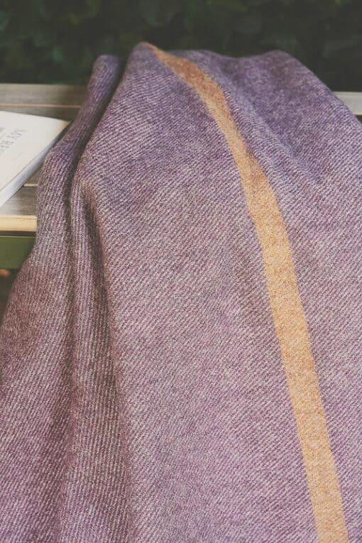plaid paars deken okergeel streep wol silkeborgplaid paars deken okergeel streep wol silkeborg