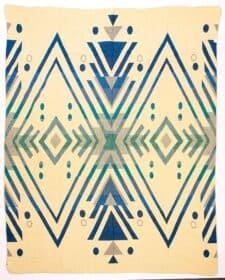 sprei plaid beige blauw alpacawol Imbabura