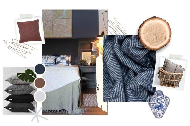 Scandinavische slaapkamer blauw