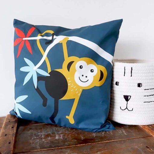 kussen donkerblauw aap jungle kinderkamer