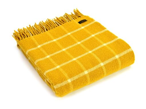 plaid geel met wit ruiten wol