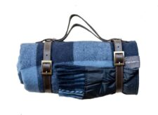 Picknickkleed blauw geblokt wol