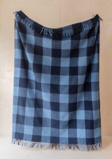 Picknickkleed blauw geruit wol