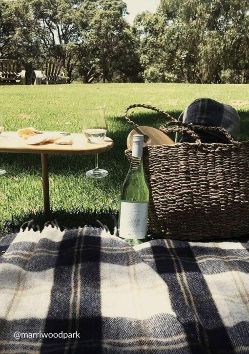 Picknickkleed grijs donkergrijs zilver ruiten wol