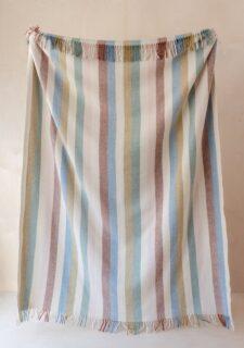 Picknickkleed groen blauw beige strepen wol