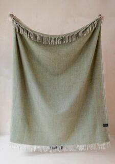Picknickkleed olijf groen visgraat patroon wol