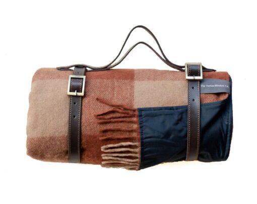Picknickkleed roest camel bruin geblokt wol