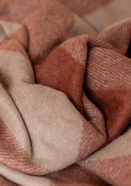 Picknickkleed roest camel bruin geruit wol