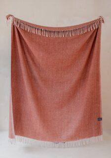 Picknickkleed roest wol visgraatpatroon