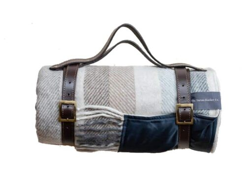 Picknickkleed wit grijs beige strepen wol