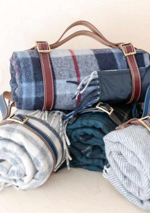 Picknickkleed wol donkerblauw geruit