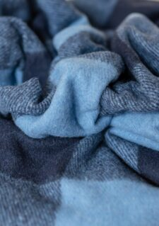 Picknickkleed wol lichtblauw donkerblauw ruiten