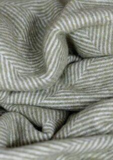 Plaid olijfgroen visgraatpatroon wol