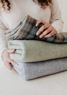 Plaids olijfgroen visgraat wol