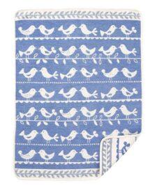 Wiegdeken blauw chenille katoen vogels