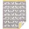 Wiegdeken grijs chenille katoen vogels