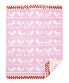 Wiegdeken roze chenille katoen vogels