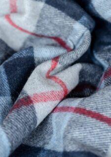 Wollen picknickkleed donkerblauw ruiten wol