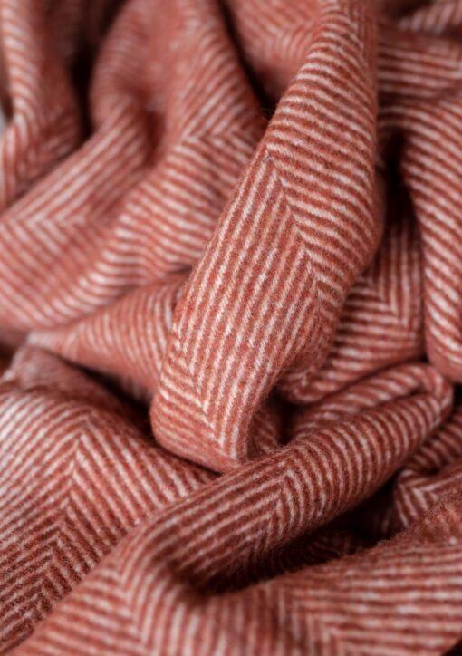 Wollen picknickkleed roest bruin oranje wol visgraat