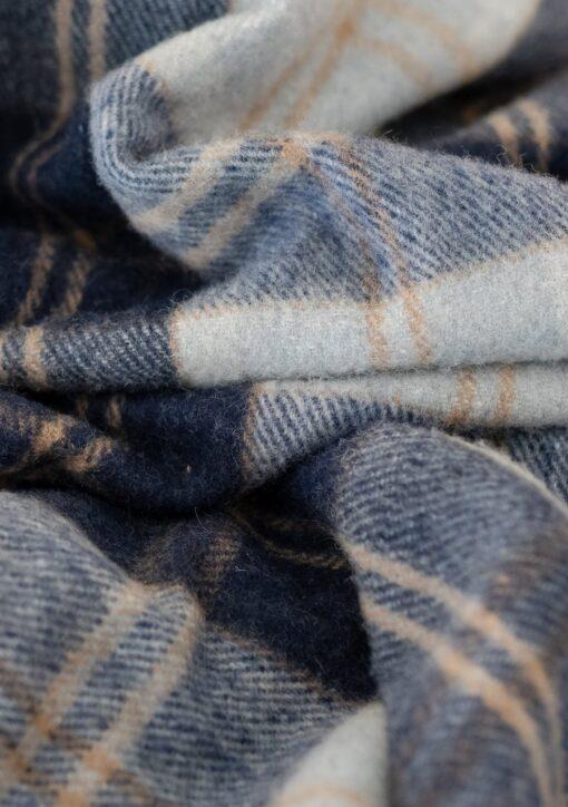 Wollen picknickkleed ruiten zilvergrijs