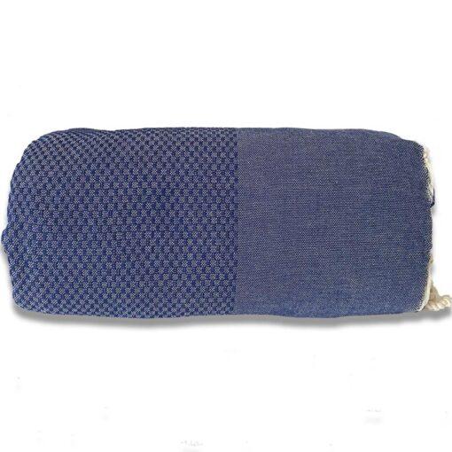 plaid donkerblauw katoen grand foulard wafel