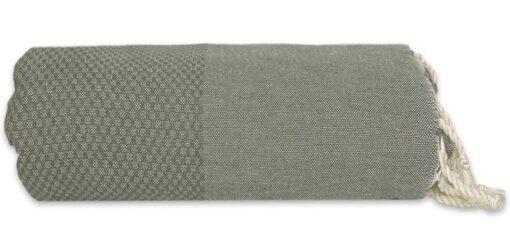plaid mosgroen grand foulard wafel katoen