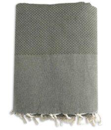 plaid mosgroen katoen wafel grand foulard