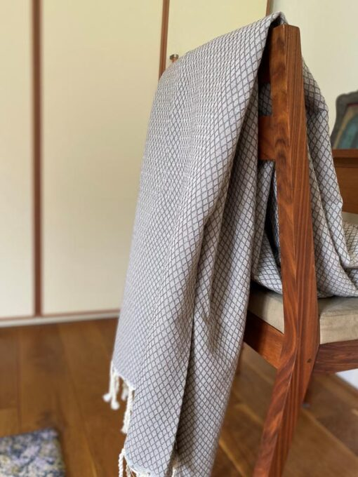 sprei taupe plaid grand foulard ottoman katoen