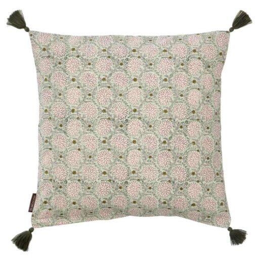 Kussen katoen roze groen bloemen