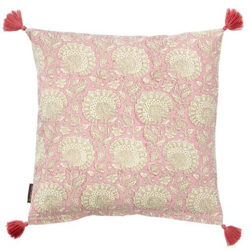 Kussen katoen roze vierkant