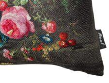 Kussen multicolour zwart groen meubelstof Stilleven detail