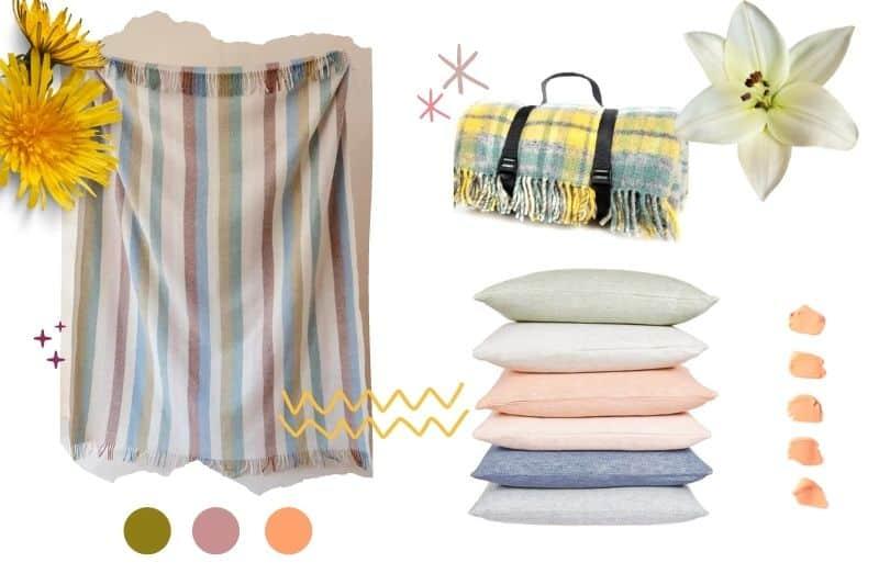 picknickkleden en zomerse kussens