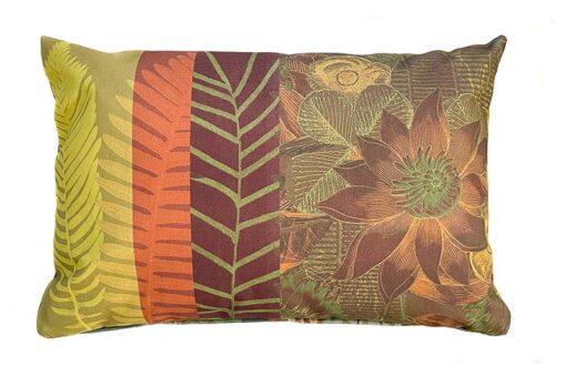 Buitenkussen oranje groen polyester flower power mix