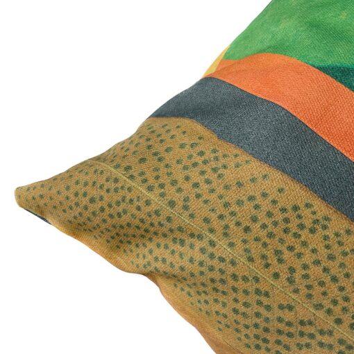 Katoenen kussen multi groen oranje blauw botanisch