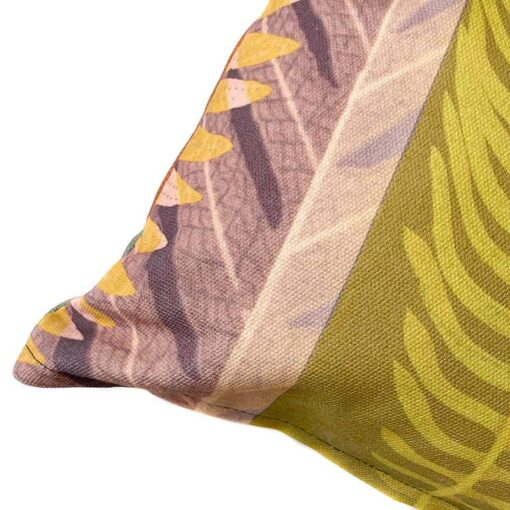 Kussen groen katoen met botanische print