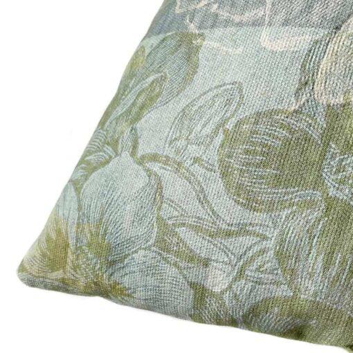 Kussen met print katoen groen blauw bird flower