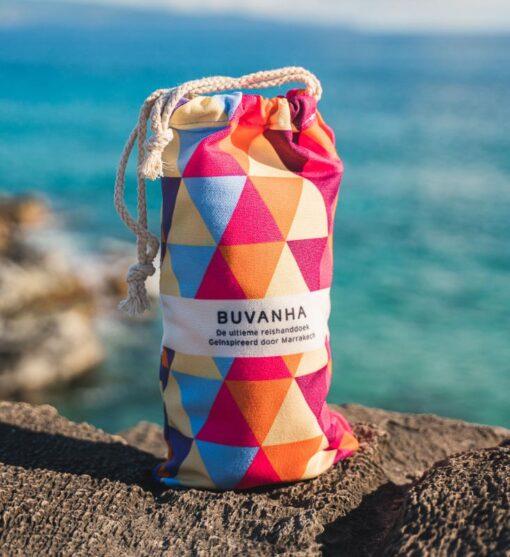 Microvezel strandlaken kleurrijk met opbergtasje