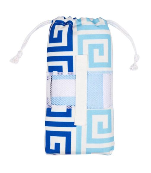 Strandlaken blauw microvezel reishanddoek met opbergtas