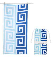 Strandlaken blauw wit met opbergtasje reishanddoek