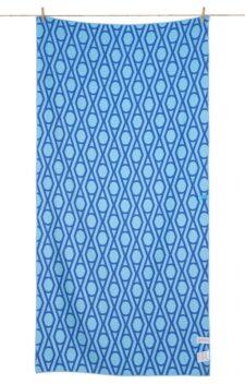 Strandlaken blauw wit print griekenland microfiber
