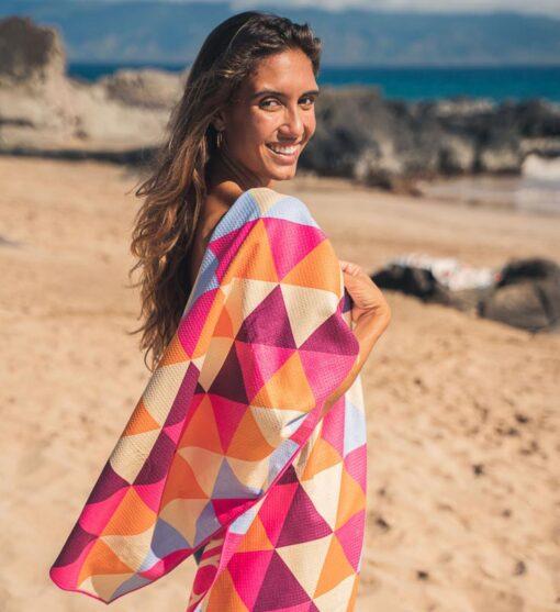 Strandlaken met driehoeken kleurrijk
