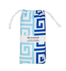 Strandlaken met opbergtas blauw wit griekse print