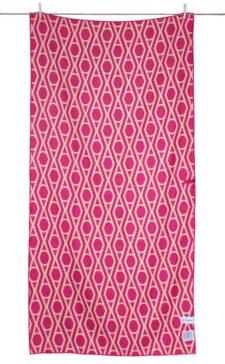 Strandlaken roze geel geometrisch marrakech microfiber