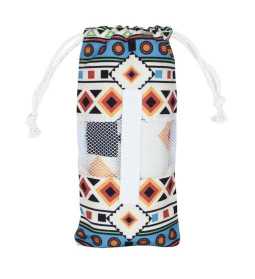 Strandlaken wit blauw reishanddoek met opbergtas microvezel