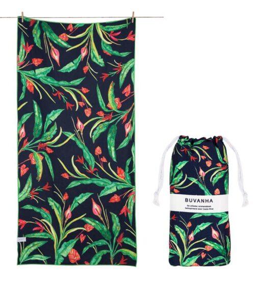 Strandlaken zwart groen met opbergtasje reishanddoek