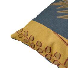 Vierkant kussen botanische print geel blauw